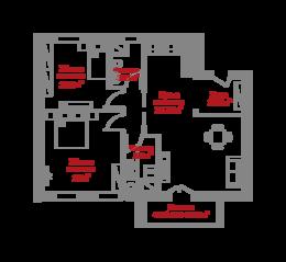 МЖК «Ленинские горки», планировка 2-комнатной квартиры, 71.50 м²