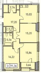 ЖК «Эталон-Сити. Башни Токио», планировка 3-комнатной квартиры, 91.36 м²