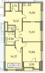 ЖК «Эталон-Сити. Башни Токио», планировка 3-комнатной квартиры, 91.19 м²