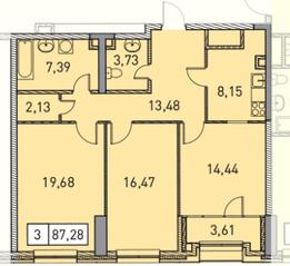 ЖК «Эталон-Сити. Башни Токио», планировка 3-комнатной квартиры, 87.28 м²