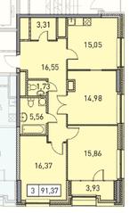 ЖК «Эталон-Сити. Башни Токио», планировка 3-комнатной квартиры, 91.37 м²