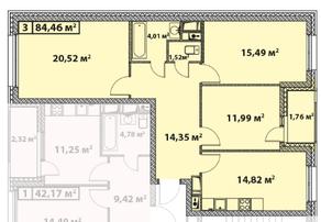 ЖК «Эталон-Сити. Башни Токио», планировка 3-комнатной квартиры, 84.46 м²