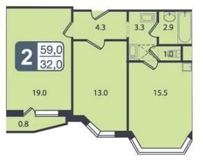 ЖК «Мой адрес в Бескудниково», планировка 2-комнатной квартиры, 59.00 м²