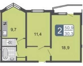 ЖК «Мой адрес на Амурской 54», планировка 2-комнатной квартиры, 50.90 м²