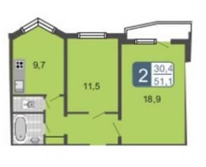 ЖК «Мой адрес на Амурской 54», планировка 2-комнатной квартиры, 51.10 м²