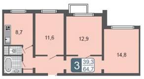 ЖК «Мой адрес на Амурской 54», планировка 3-комнатной квартиры, 64.70 м²