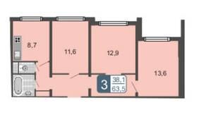 ЖК «Мой адрес на Амурской 54», планировка 3-комнатной квартиры, 63.50 м²