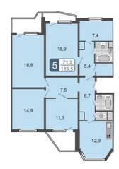 ЖК «Мой адрес на Амурской 54», планировка 5-комнатной квартиры, 113.50 м²