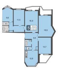 ЖК «Мой адрес на Амурской 54», планировка 5-комнатной квартиры, 110.00 м²