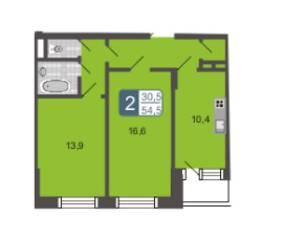 МЖК «Мой адрес на Дмитровском 4», планировка 2-комнатной квартиры, 54.50 м²