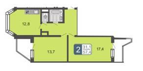 МЖК «Мой адрес на Дмитровском 4», планировка 2-комнатной квартиры, 57.40 м²