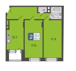 МЖК «Мой адрес на Дмитровском 4», планировка 2-комнатной квартиры, 64.40 м²