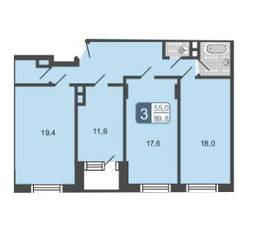 МЖК «Мой адрес на Дмитровском 4», планировка 3-комнатной квартиры, 89.80 м²