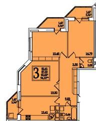 ЖК «Космическая гавань», планировка 3-комнатной квартиры, 92.63 м²