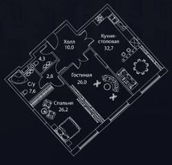 ЖК «Жизнь на Плющихе», планировка 2-комнатной квартиры, 112.00 м²