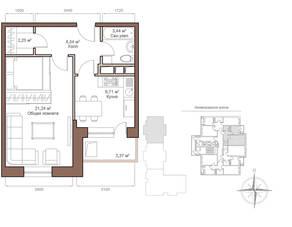 ЖК «Шустовъ-Парк», планировка 1-комнатной квартиры, 43.87 м²