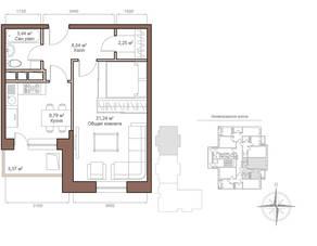 ЖК «Шустовъ-Парк», планировка 1-комнатной квартиры, 43.95 м²