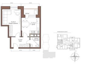 ЖК «Шустовъ-Парк», планировка 1-комнатной квартиры, 40.32 м²