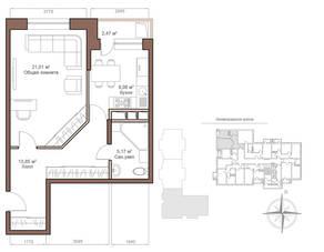 ЖК «Шустовъ-Парк», планировка 1-комнатной квартиры, 50.35 м²