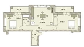 МФК «Яхонтовый лес», планировка 3-комнатной квартиры, 91.50 м²