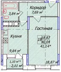 ЖК «Олимп-3», планировка 1-комнатной квартиры, 41.14 м²