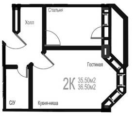 МЖК «Гармония» (Новая Купавна), планировка 1-комнатной квартиры, 36.50 м²