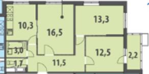 ЖК «Гринада», планировка 3-комнатной квартиры, 70.99 м²