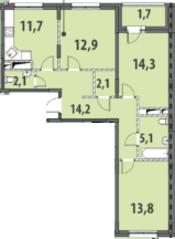 ЖК «Гринада», планировка 3-комнатной квартиры, 77.90 м²