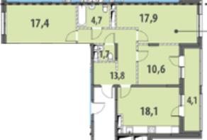 ЖК «Гринада», планировка 3-комнатной квартиры, 88.27 м²