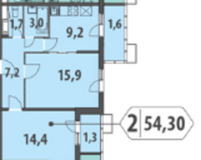 ЖК «Гринада», планировка 2-комнатной квартиры, 54.31 м²