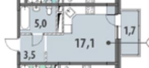 ЖК «Гринада», планировка студии, 27.26 м²