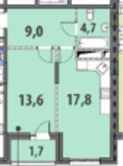 ЖК «Гринада», планировка 1-комнатной квартиры, 46.80 м²