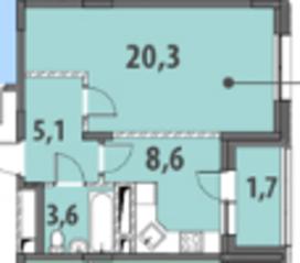 ЖК «Гринада», планировка 1-комнатной квартиры, 39.37 м²