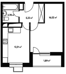 ЖК «Счастье в Чертаново», планировка 1-комнатной квартиры, 39.87 м²
