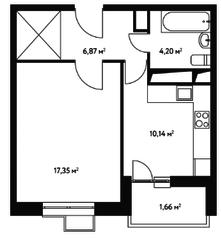 ЖК «Счастье в Чертаново», планировка 1-комнатной квартиры, 40.22 м²