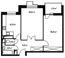 ЖК «Счастье в Чертаново», планировка 2-комнатной квартиры, 62.95 м²