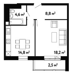 ЖК «Счастье на Ленинском», планировка 1-комнатной квартиры, 48.90 м²