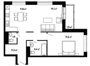 ЖК «Счастье на Ленинском», планировка 2-комнатной квартиры, 68.60 м²