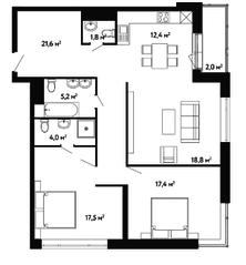 ЖК «Счастье на Ленинском», планировка 3-комнатной квартиры, 100.70 м²