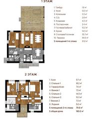 МЖК «Река-река», планировка 5-комнатной квартиры, 214.00 м²