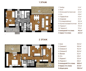 МЖК «Река-река», планировка 5-комнатной квартиры, 172.00 м²