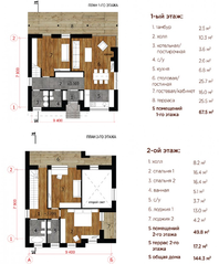 МЖК «Река-река», планировка 4-комнатной квартиры, 202.00 м²