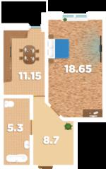 ЖК «Родионово», планировка 1-комнатной квартиры, 45.90 м²