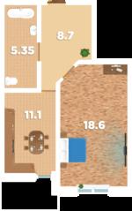 ЖК «Родионово», планировка 1-комнатной квартиры, 45.70 м²