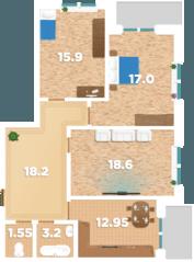 ЖК «Родионово», планировка 3-комнатной квартиры, 91.90 м²
