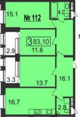 МФК «Nord», планировка 3-комнатной квартиры, 83.10 м²