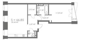 МФК «ORDYNKA by BOSCO Casa», планировка квартиры со свободной планировкой, 66.85 м²