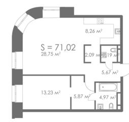 МФК «ORDYNKA by BOSCO Casa», планировка квартиры со свободной планировкой, 71.02 м²