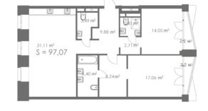МФК «ORDYNKA by BOSCO Casa», планировка квартиры со свободной планировкой, 97.07 м²