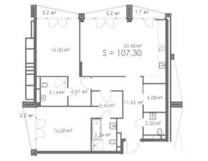 МФК «ORDYNKA by BOSCO Casa», планировка квартиры со свободной планировкой, 107.30 м²